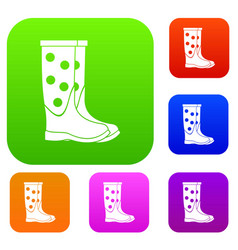 rubber boots set collection vector image