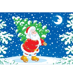 Santa with a Christmas tree vector