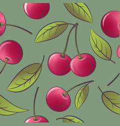 seamless pattern red ripe cherries with leaves vector image