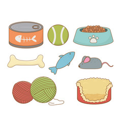 set care pets accessories vector image