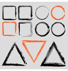 set grunge charcoal frames different shapes vector image