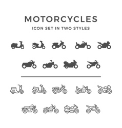 set icons motorcycle vector image