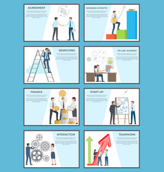 Set of business posters with ambitious employees vector