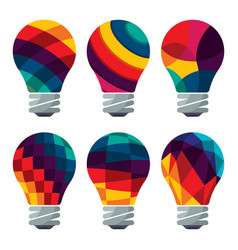 set of colorful bulb icons vector image