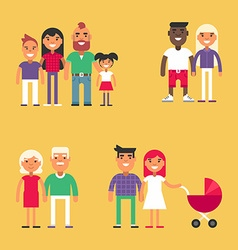 Set of Family Concept Flat Style People Set for vector image
