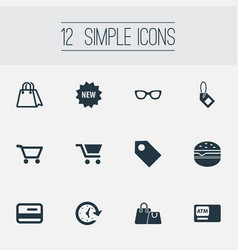 Set of simple basket icons vector