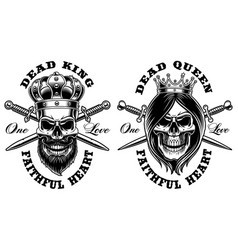 Set of skulls king and queen vector