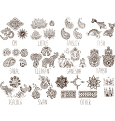 set sketches mehndi vector image