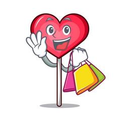 Shopping heart lollipop character cartoon vector