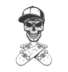 Skateboarder skull in baseball cap and bandana vector