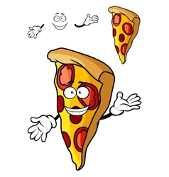 Slice of cartoon pizza vector image