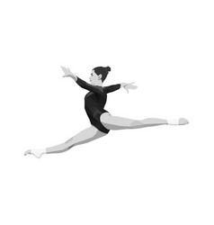 Split leap women gymnast vector