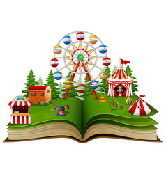 Story book with a carnival on a white background vector