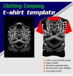 T-shirt template fully editable with skull helmet vector