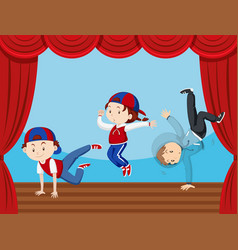 Three kids dancing on stage vector