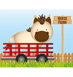 trailer with horse farm background vector image