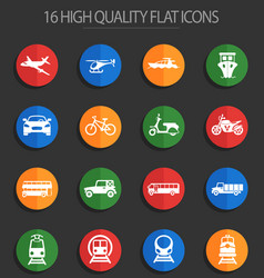 transport 16 flat icons vector image