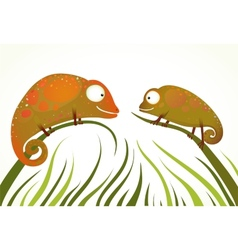 Two Colorful Lizards Sitting on Grass Background vector image