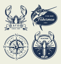 Vintage sea emblems collection vector