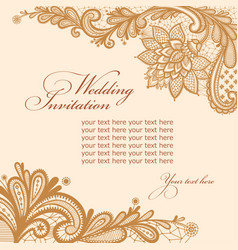 Wedding invitation with lace and text vector