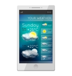 White phone with weather gadget vector