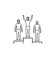 winners on the podium hand drawn outline doodle vector image