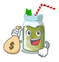 With money bag green juice smoothe in cartoon glas vector