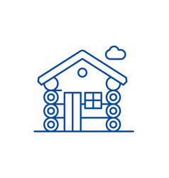wooden house line icon concept wooden house flat vector image
