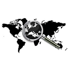 World map under magnifying glass vector image