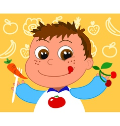 child with healthy food vector image vector image