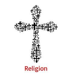 crucifix cross religion symbol icon vector image vector image