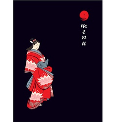 menu cover with japanese geisha vector image