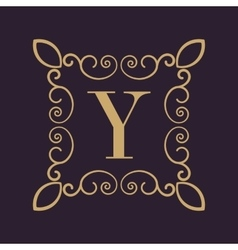 Monogram letter Y Calligraphic ornament Gold vector image vector image
