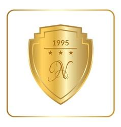 Shield emblem gold white vector