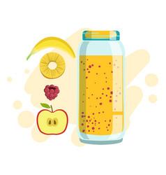 Banana pineapple and raspberry smoothie non vector