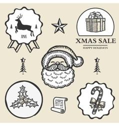 christmas reindeer santa gift box candy symbol vector image