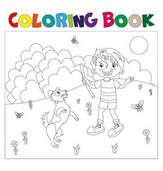 coloring page outline cartoon boy with dog vector image