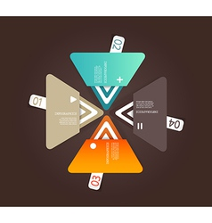 Four colored paper triangles with place for your vector image vector image