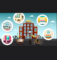 Hotel building with rooms vector