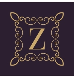 Monogram letter Z Calligraphic ornament Gold vector image vector image