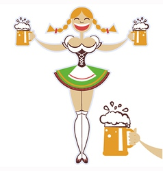 oktoberfest girl with glasses of beer symbol vector image