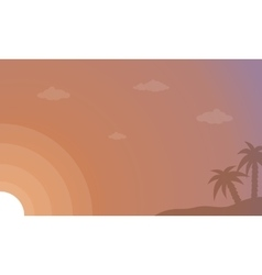 Silhouette of palm and sky landscape vector image vector image