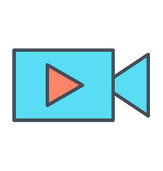 video camera with play button line icon vector image