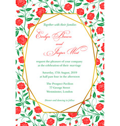 wedding invitation red roses floral invite card vector image vector image