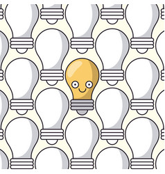white background with pattern of light bulbs and vector image