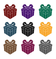 gift icon in black style isolated on white vector image