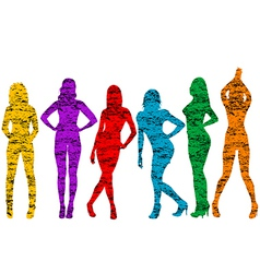 Grunge naked women silhouettes vector image vector image