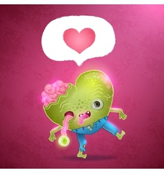 Happy Valentines card with zombie heart vector image