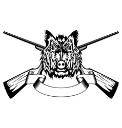 head wild boar and crossed gun vector image