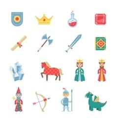 Medieval games symbols flat icons set vector image